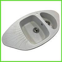 Кухонная прямоугольная гранитная мойка Aqua GRAY 918/500