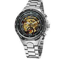 Часы мужские наручные Winner 8067 Silve r-BlackGold Red Механика с автоподзаводом