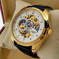 Механические мужские наручные часы скелетоны Tissot золотого цвета с автоподзаводом на кожаном ремешке белый