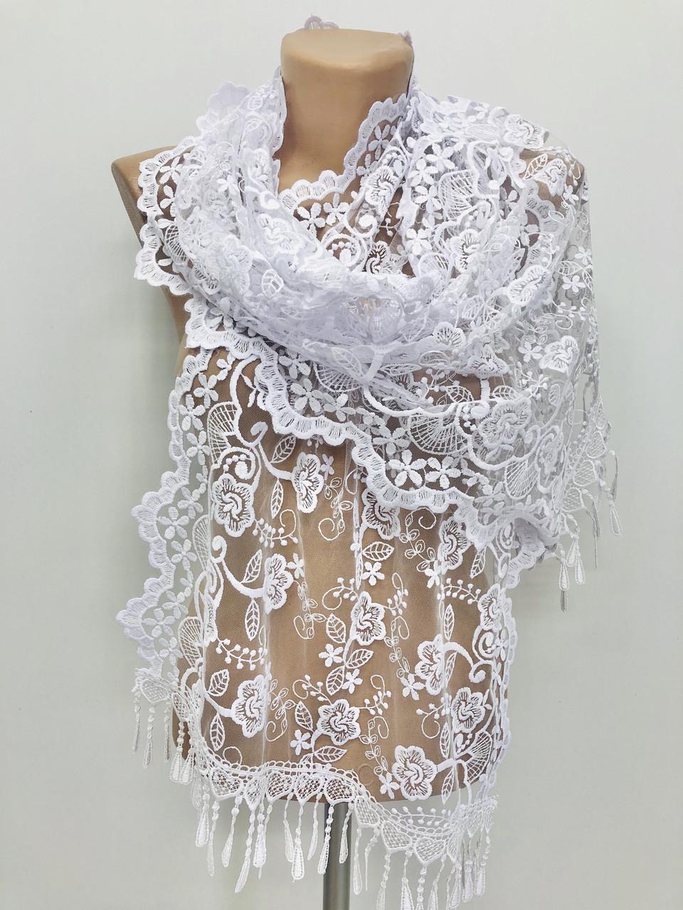 Шарф белый ажурный фатиновый свадебный церковный 150036