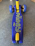 Самокат трехколесный складной Scooter Happy MINI со светящимися колесами, Синий, фото 4