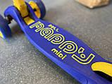 Самокат трехколесный складной Scooter Happy MINI со светящимися колесами, Синий, фото 7
