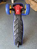 Самокат трехколесный складной Scooter Happy MINI со светящимися колесами, Синий, фото 6
