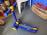 Самокат трехколесный складной Scooter Happy MINI со светящимися колесами, Синий, фото 8