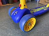 Самокат трехколесный складной Scooter Happy MINI со светящимися колесами, Синий, фото 10