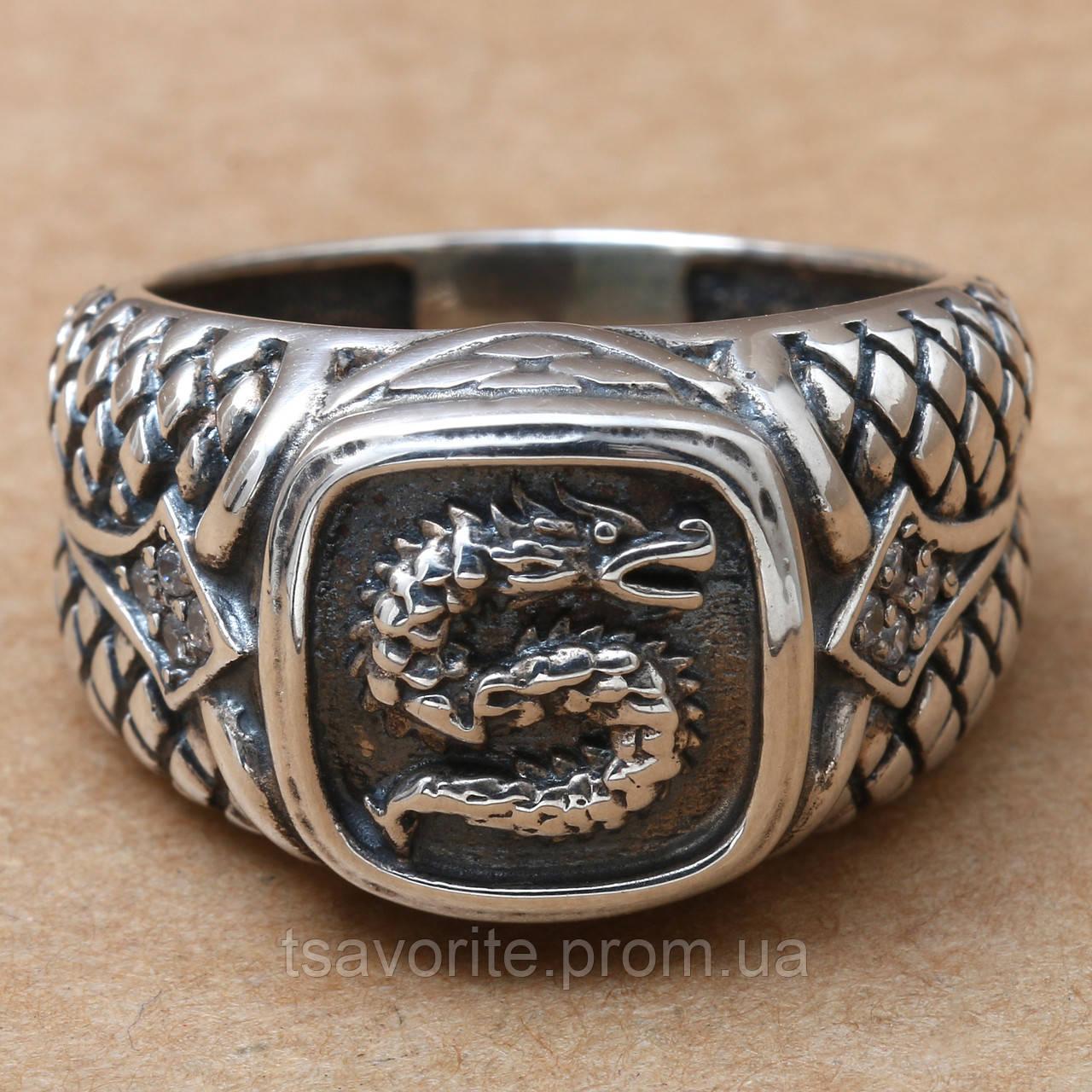 """Мужское серебряное кольцо """"Дракон"""" 2111654"""