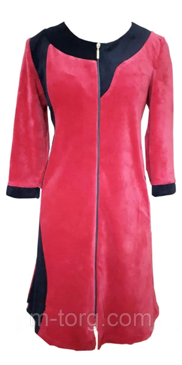 """Велюровий жіночий халат """"Оленка"""" з капюшоном розмір 56"""