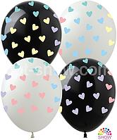 """Воздушные шары сердечки макарун (черный+белый) 5 ст 12"""" (30 см) ТМ Show"""