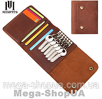 Ключница визитница кошелек кожаная Premium Retro Wallet DF5 Brown. Ключниця візитниця гаманець шкіряна