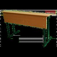 """Парта 2-местная """"СТАНДАРТ"""", без полки, с наклонной столешницей, ростовых групп № 4,5,6 — 1200х500х640-760 мм"""