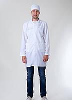"Медицинский мужской халат с длинным рукавом ""Health Life"" х/б белый 2148"