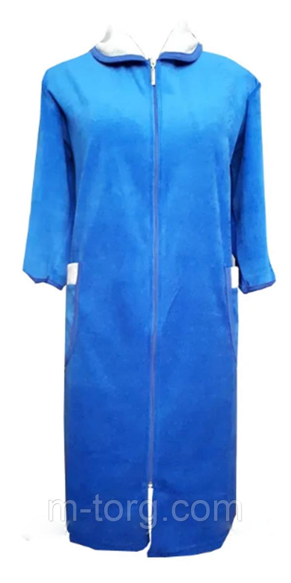 Велюровый женский халат на молнии 56 размер
