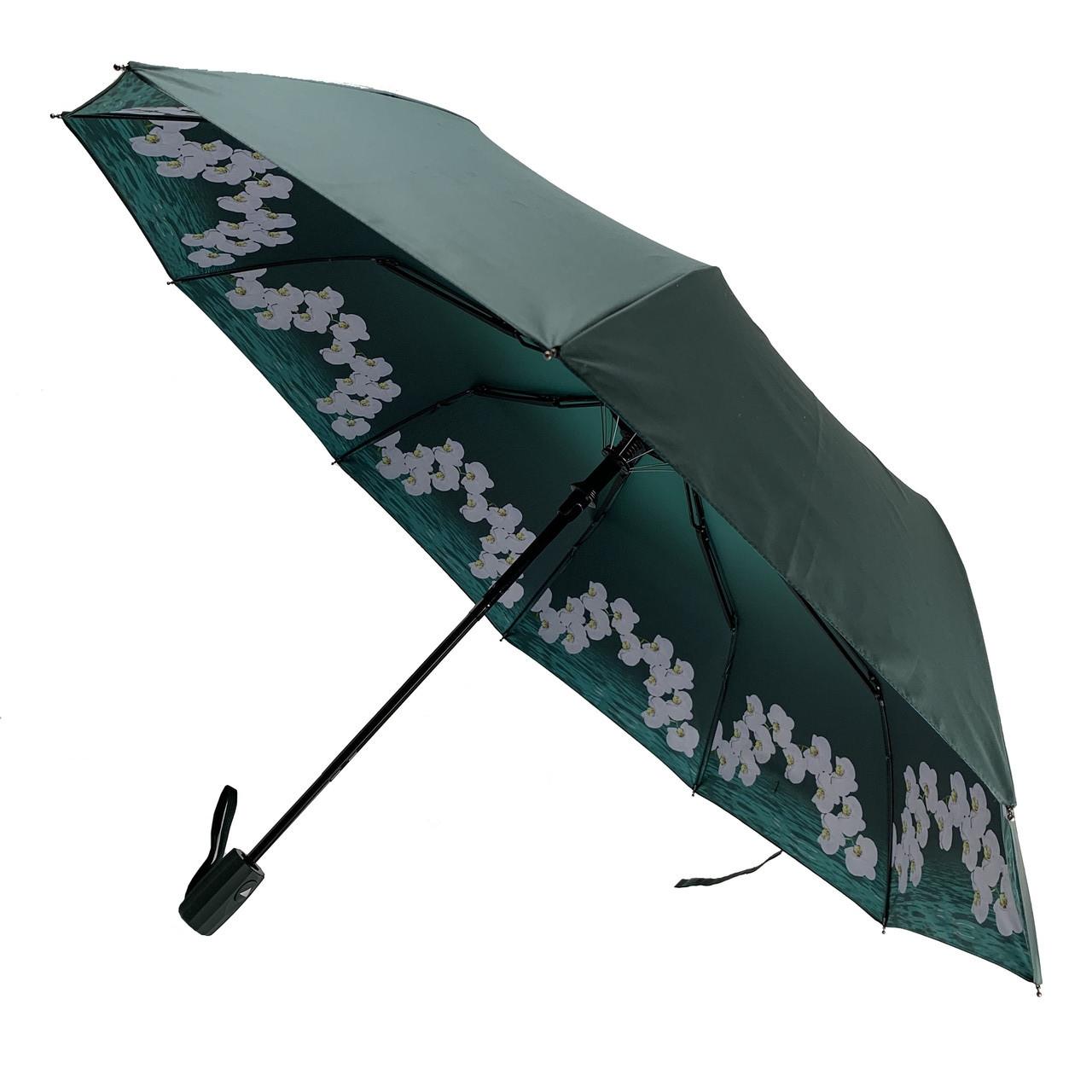 Женский складной зонт-полуавтомат с двойной тканью от Flagman с принтом орхидей, темно-зеленый, 516-1