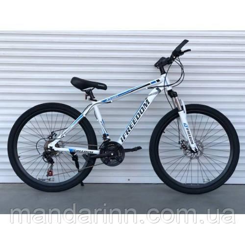 Спортивний велосипед TopRider-903 26 дюймів. Рама 17. БІЛО-СИНІЙ. Шимано Диск гальма.