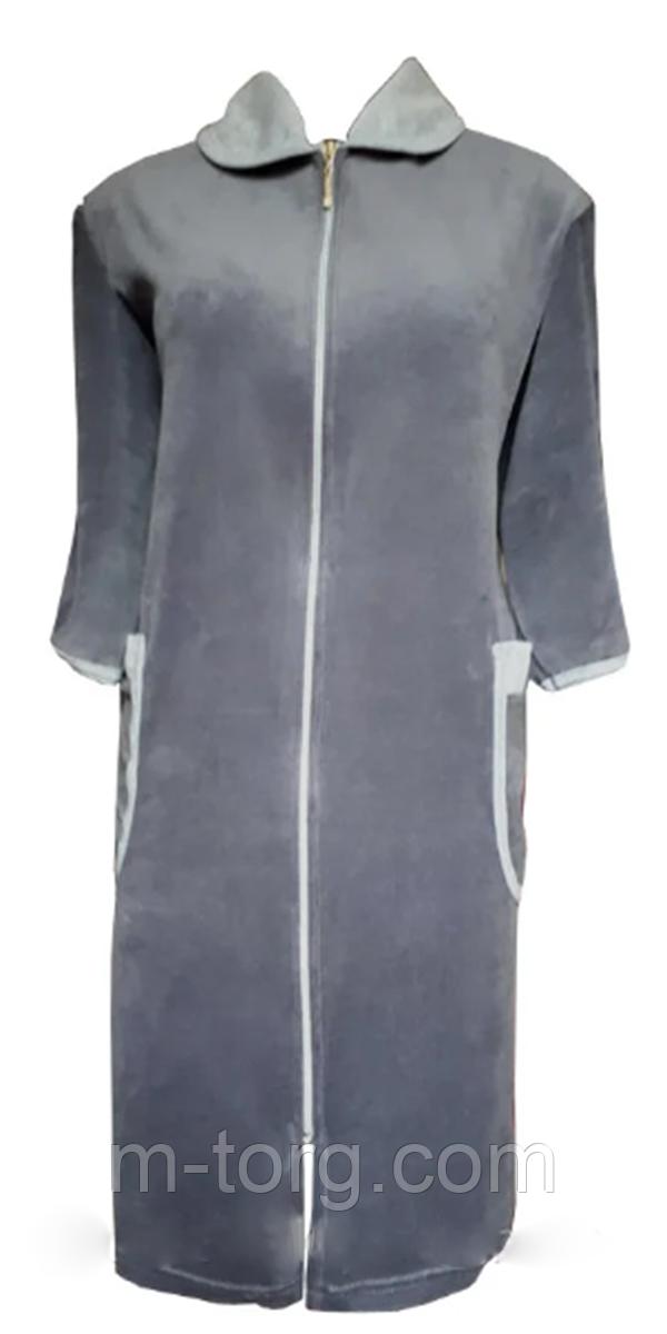 Велюровый женский халат на молнии 62 размер
