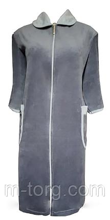 Велюровый женский халат на молнии 62 размер, фото 2