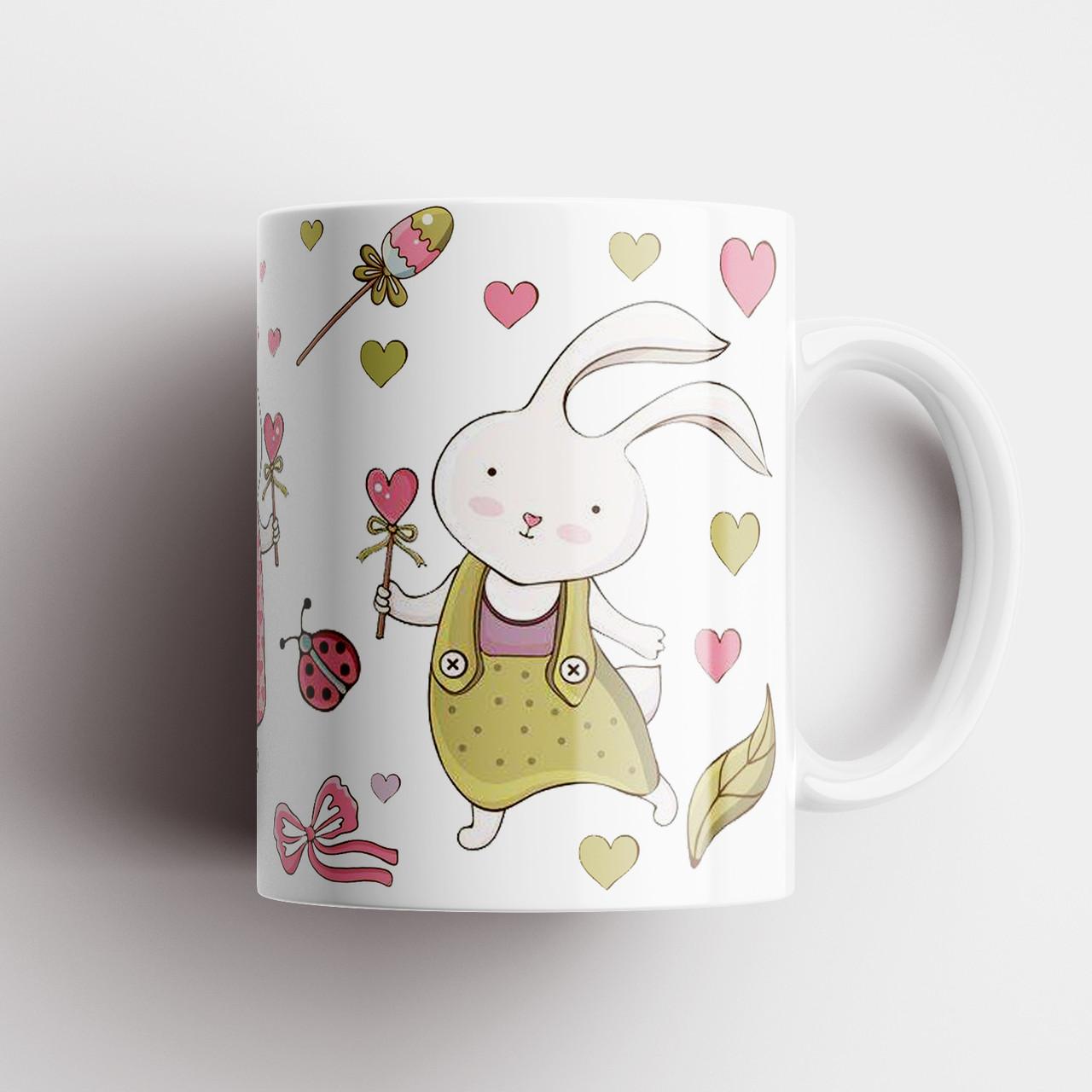Чашка з принтом Кролики. Чашка з фото