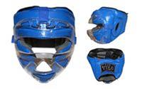 Шлем боксерский с пластиковой маской VELO (кожа,усилен.защита ушей,щек,подбородка) XL