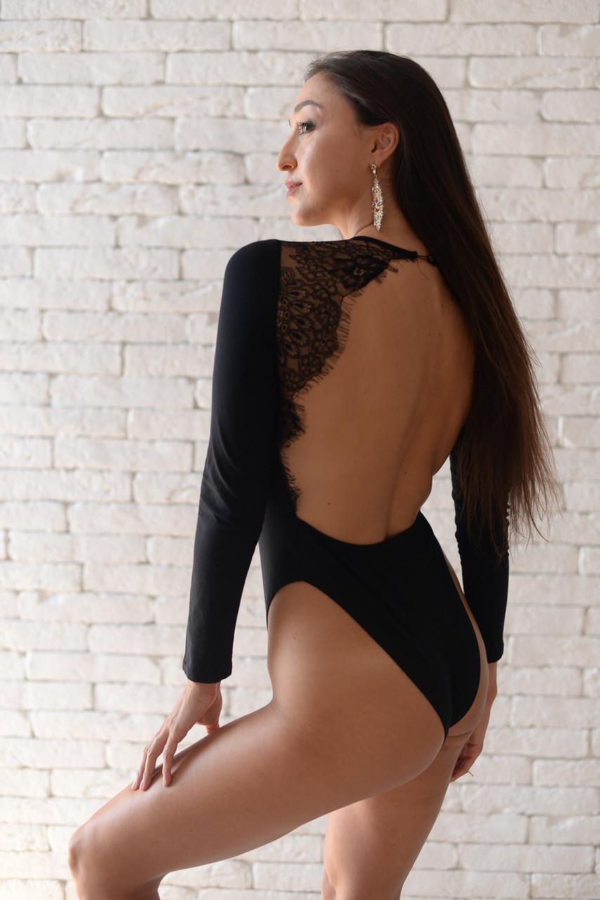 Жіночий сексуальний мереживний боді з довгим рукавом, з відкритою спиною Macheda black