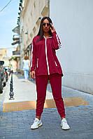 Женский спортивный костюм штаны и кофта с капюшоном и карманами бордовый 48-50 52-54 56-58, фото 1