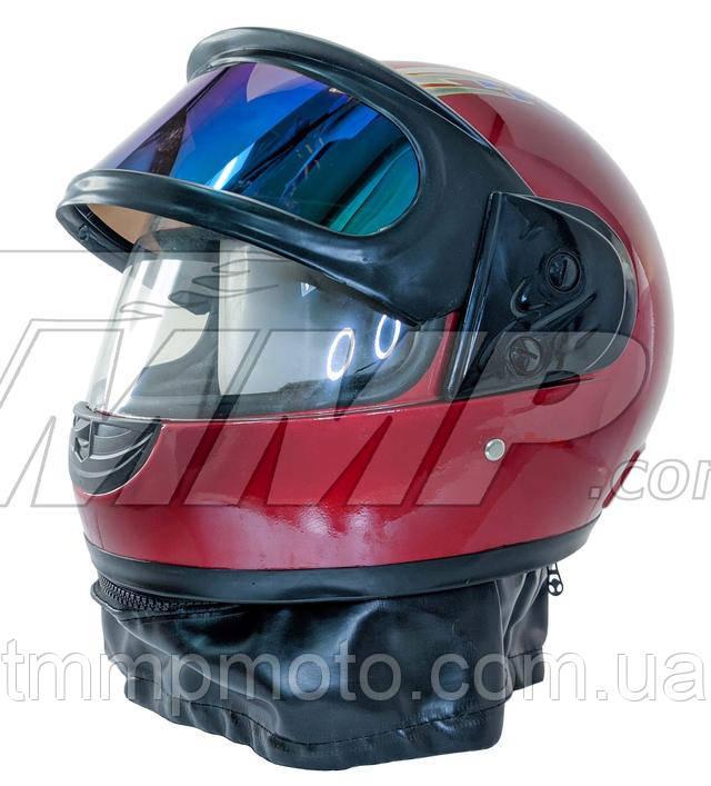 Шлем интеграл красный (с солнцезащитным визором и воротником)