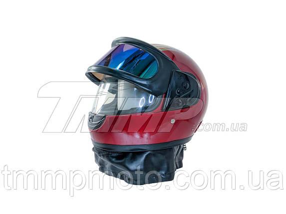 Шлем интеграл красный (с солнцезащитным визором и воротником), фото 2