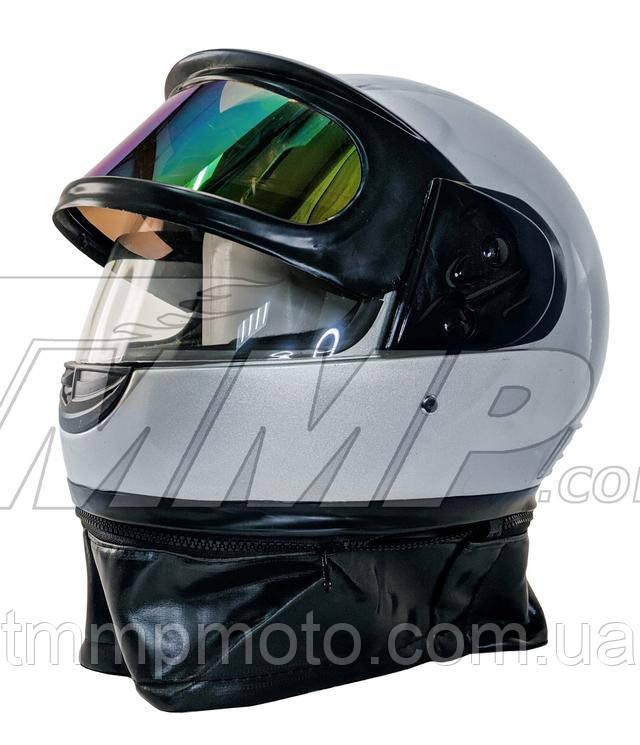 Шлем интеграл серый (с солнцезащитным визором и воротником)