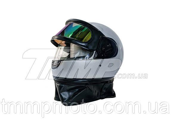 Шлем интеграл серый (с солнцезащитным визором и воротником), фото 2