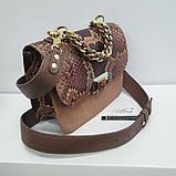 Женская сумка AGATA Gold из натуральной кожи и питона гранатовой расцветки, фото 2