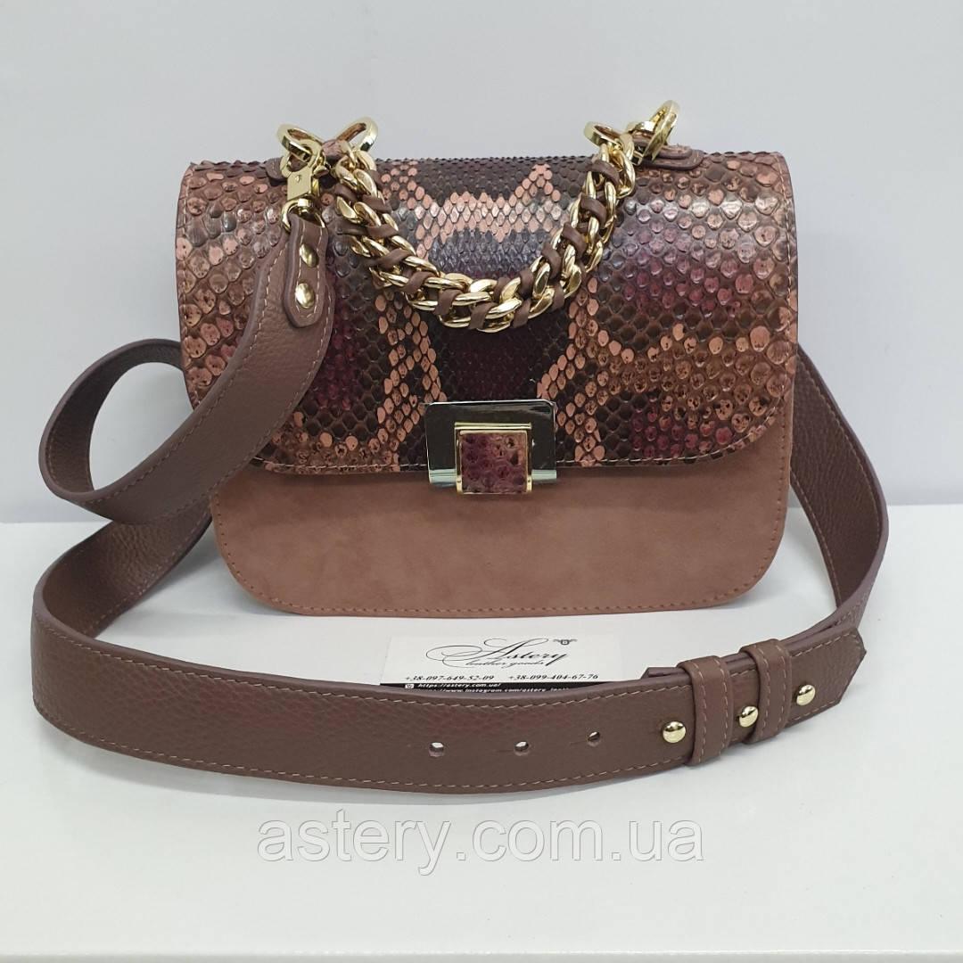 Женская сумка AGATA Gold из натуральной кожи и питона гранатовой расцветки