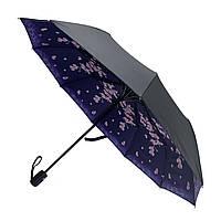Женский складной зонт-полуавтомат с двойной тканью от Flagman с принтом орхидей, черно-синий, 516-6, фото 1