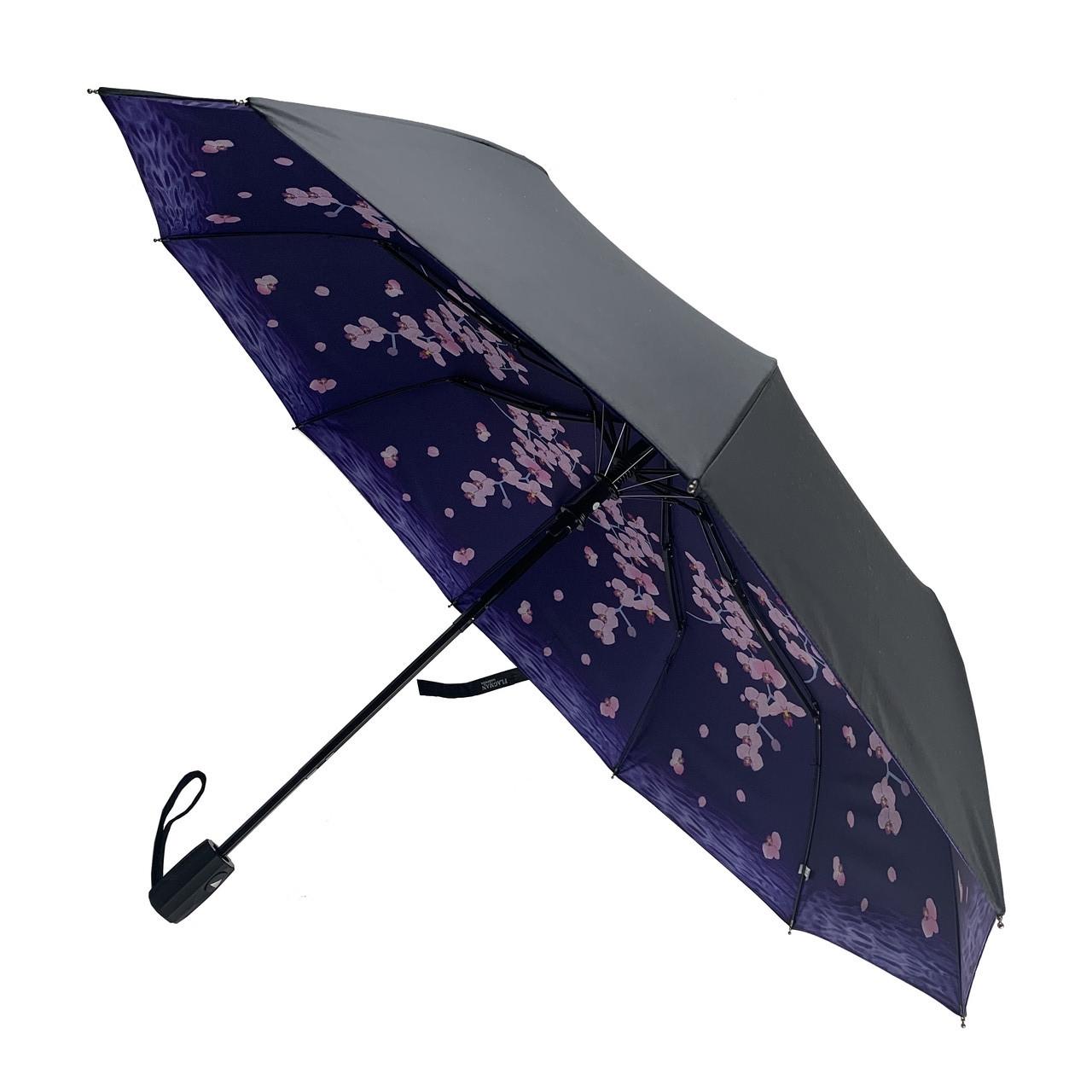 Женский складной зонт-полуавтомат с двойной тканью от Flagman с принтом орхидей, черно-синий, 516-6