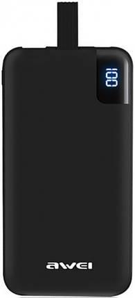 Внешний аккумулятор Power Bank AWEI P67K 10000mA Black, фото 2
