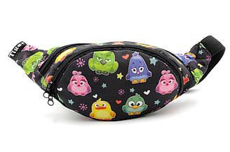 Детская стильная сумка бананка черного цвета с ярким рисунком. Cумка на пояс.