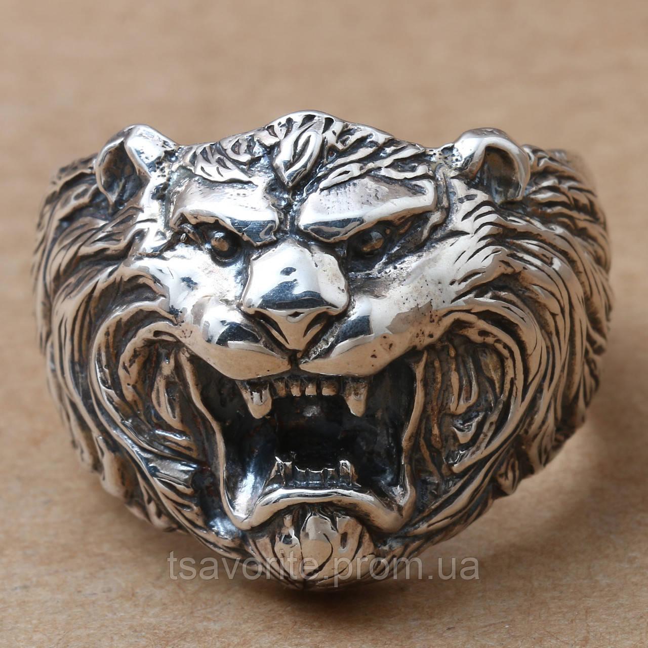"""Мужское серебряное кольцо """"Лев"""" 2100012"""