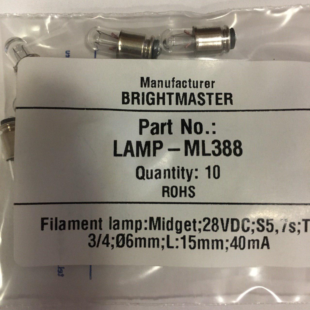 Лампа накаливания самолетная СМ 28-0,04 S5,7s Brightmaster ML388