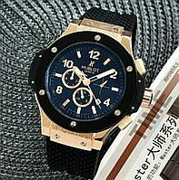 Часы мужские наручные механические Hublot Big Bang Classic Automatic Black-Gold-Black