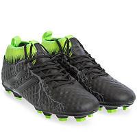 Бутси-копи футбольні чоловічі з носком DIFENO Поліуретан Чорний-зелений (170706-4) 44