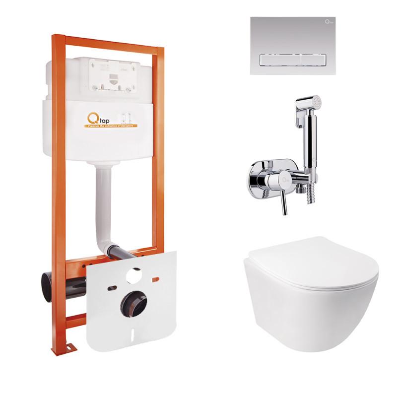 Комплект Qtap інсталяція Nest QTNESTM425M08CRM + унітаз з сидінням Jay QT07335176W + набір для гігієнічного