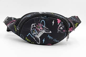 Детская стильная сумка бананка черного цвета с ярким рисунком кота. Cумка на пояс.