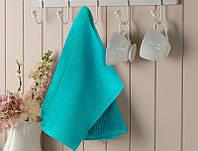 Ткань для вафельных полотенец однотонное голубое 150 см