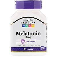ОРИГІНАЛ!21st Century, Мелатонін ,3 мг 90 таблеток виробництва США