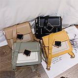 Женская классическая сумочка на цепочке три отдела бежевая, фото 5