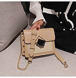 Женская классическая сумочка на цепочке три отдела бежевая, фото 4