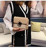 Женская классическая сумочка на цепочке три отдела бежевая, фото 3