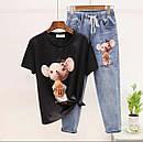 Женский джинсовый костюм с футболкой и рисунком 79ks1052, фото 3