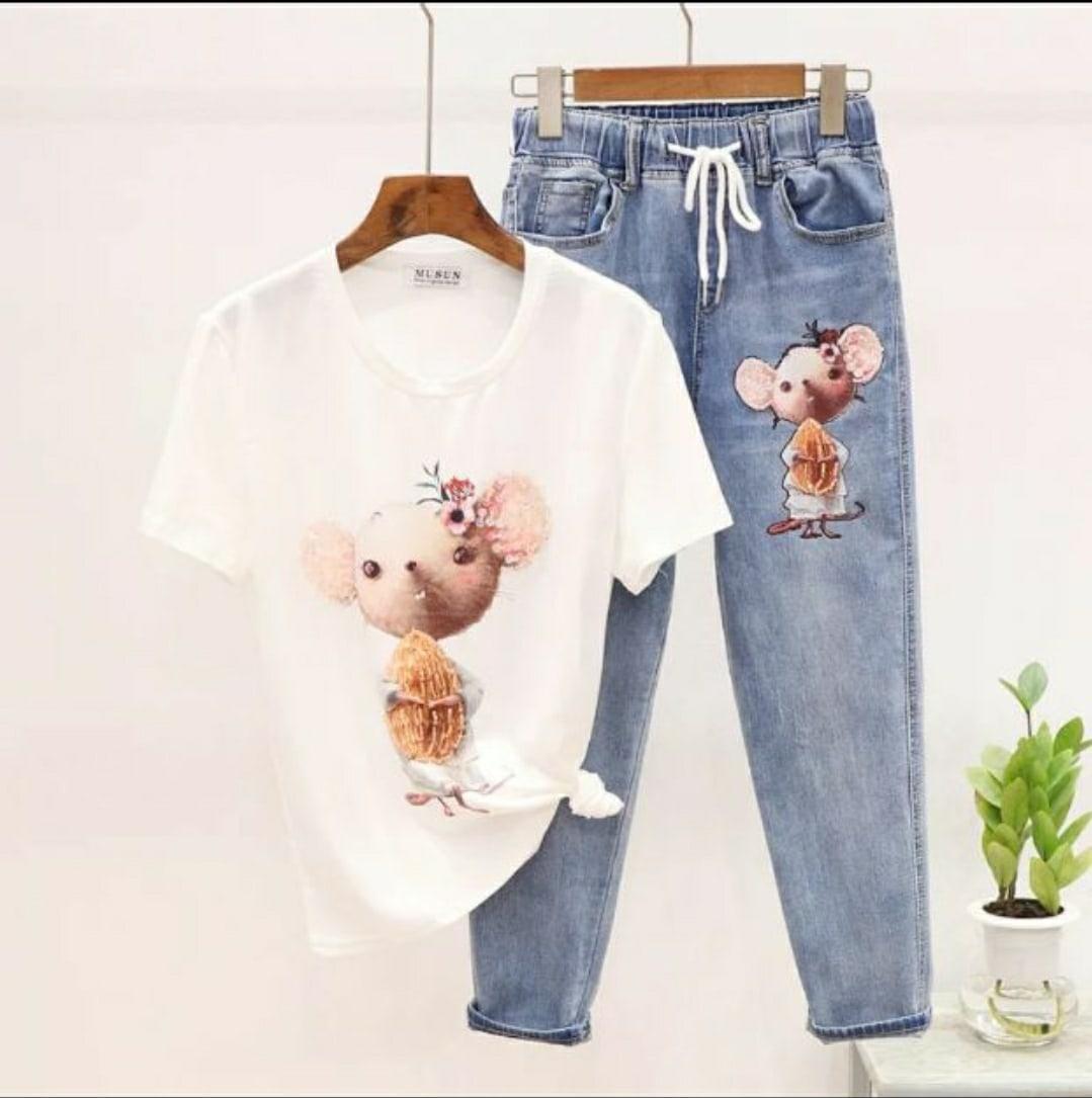 Женский джинсовый костюм с футболкой и рисунком 79ks1052