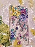 Чехол Накладка Fashion Цветы Huawei Y7 2019 / Y7 prime 2019 стильные блёстки