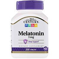 ОРИГІНАЛ!21st Century, Мелатонін ,3 мг 200 таблеток виробництва США