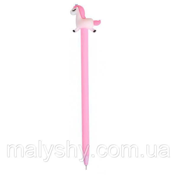 Ручка гелевая 6029 «Единорог» СИНЯЯ розовый корпус